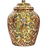 Indian Art Villa Printed Design Copper Water Dispenser Pot Matka, Stoarage, Home Garden, 10 LTR, Light Brown