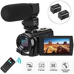 Caméscope Caméra Vidéo, Aabeloy Appareil Photo Numérique avec Microphone HD 1080p 24MP Zoom Numérique 16X LCD 3,0 Pouces Écran Rotatif à 270 degrés Youtube Vlogging Caméra avec Télécommande, 2 Piles