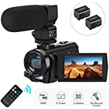 Camcorder Video Camera, Aabeloy Digital Camera with Microphone 1080P 30FPS 24MP 16X Digital Zoom 3'' LCD 270 Degrees Rotatable Screen YouTube Vlogging Camera Recorder with Remote Control, 2 Batteries