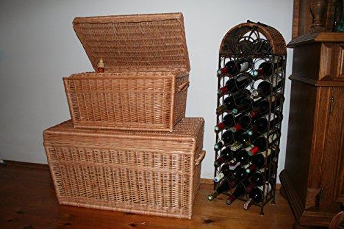Zwei Korbtruhen Weidenkorb Set 80cm und 60cm, Wicker Chests, Trunk Set, Korb mit Deckel - 3