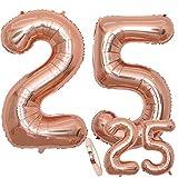 Luftballons Zahl 25 Geburtstag XXL Rose Gold - Riesen Folienballon in 2 Größen 40