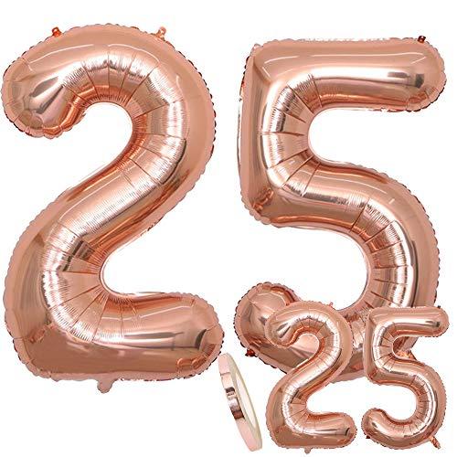 cholinchin Globos Número 25 Cumpleaños XXL Oro Rosa - Globo de lámina Gigante en 2 tamaños 40 'y 16' | Set XXL 100cm + Mini 40cm Version Decoraciones de cumpleaños | Ideal para el 25 como decoración.