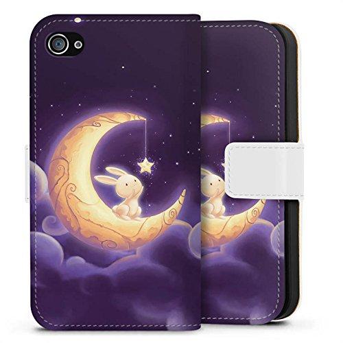 Apple iPhone X Silikon Hülle Case Schutzhülle Häschen Mond Himmel Sideflip Tasche weiß