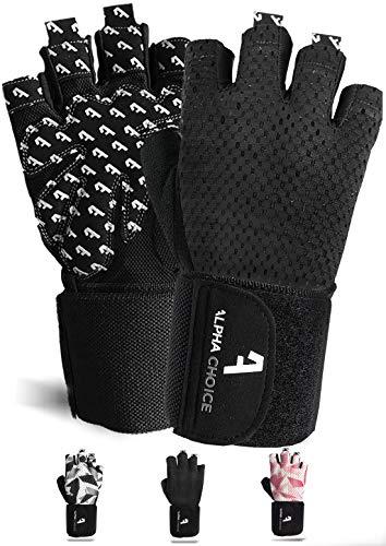 Alphachoice Performance Fitness Handschuhe Damen und Herren mit Handgelenkschutz - Trainingshandschuhe für Krafttraining, Bodybuilding, Gewichtheben (M, Schwarz) -