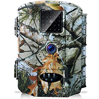 Olymbros Wildife Trail Camera Trap 16MP 1080P Game Cam with Infrared Night Vision up to 82ft Motion Activated IP66 Waterproof for Home Garden Security Surveillance Fox Hunting Scouting