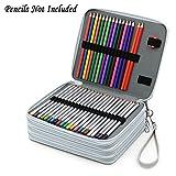 Sumnacon 160 PU cuir Trousse carré de crayon , Sac Carré de crayon couleur ou aquarelle pour Dessinateur Professionnelle ou Amateur, pas de crayon ( gris)