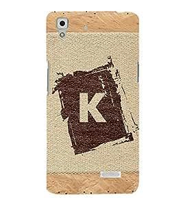 Fiobs alphabet K brownish colour salwood corners arial bold font Designer Back Case Cover for Oppo R7 :: Oppo R7 Lite
