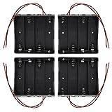 KEESIN 3.7V 18650 Batteriehalter Gehäuse Kunststoff Akku Aufbewahrungsbox mit Wire Leads und Befestigung Kabelbinder (4 Solts × 4 Stück)