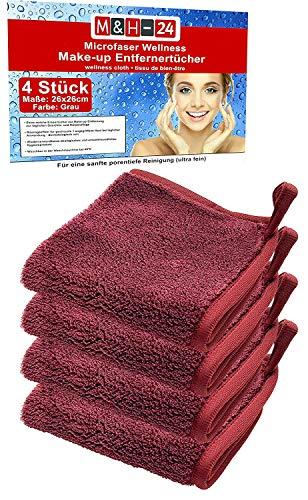 Premium Abschminktücher Mikrofaser Gesichtsreinigungstücher Kosmetiktücher - Gesichtsreinigung gegen Mitesser Hautunreinheiten Make-Up Entferner-Tuch Waschbar Wiederverwendbar 26 x 26 cm Bordeaux 4