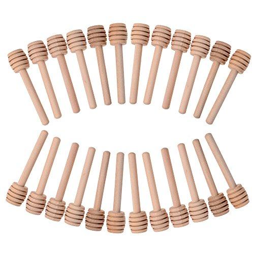 Pack de 24 mini varillas de madera para cortar miel para tarro de miel, dispensador de miel y boda, regalos de fiesta, 7,62 cm envueltas individualmente