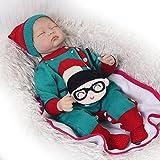 Lebensechte Reborn Baby Puppen Mädchen, die Augen geschlossen 55,9 cm Weiches Silikon Neugeborene Puppe Kinder Weihnachten Geschenk