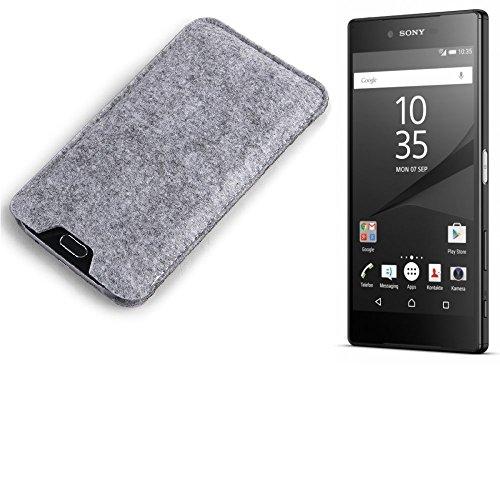 K-S-Trade Sony Xperia Z5 Premium Estuche protecto Case para móvil fieltro sintió funda de manga cubierta protectora bolsa de protección del teléfono móvil gris para Sony Xperia Z5 Premium