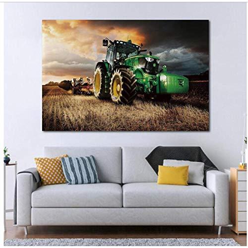 Maschine Traktor Landwirtschaft Ernte Landschaft Leinwand Malerei Wandkunst Dekor Poster Home Decoration Bild 50x70 cm Kein Rahmen
