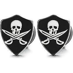 Pendientes con diseño de escudo pirata