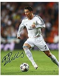 Cristiano Ronaldo–Real Madrid Format A4Autographe Signé 21cm x 29.7cm affiche de photo