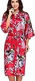 FLYCHEN Damen Satin Kimonos Bademantel lange Nachtwäsche Robe mit Peacock Morgenmantel Rot M