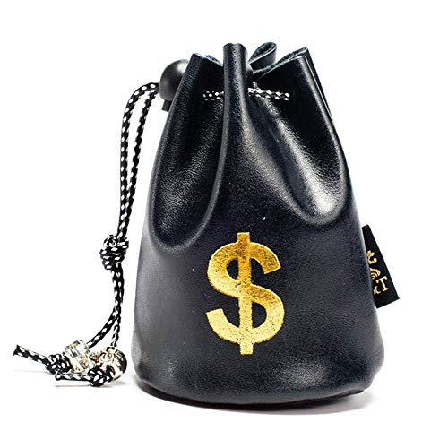 Ting-Times 3 Bank Money Sack Wallet Bag, Material PU Leather 10 X 8 cm/3.94 X 3.15inch Material Dollar Euro Pound Sign Wild West Bank Bags Cowboy Fancy Dress (Black - ()
