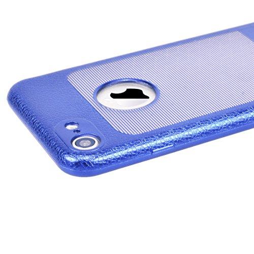 GrandEver iPhone 7 Hülle Weiche Silikon Handyhülle TPU Bumper PU Leder Backcover mit Smart Fenster Ansicht Schutzhülle für iPhone 7 Rückschale Klar Handytasche Anti-Kratzer Stoßdämpfung Ultra Slim Rüc Blau