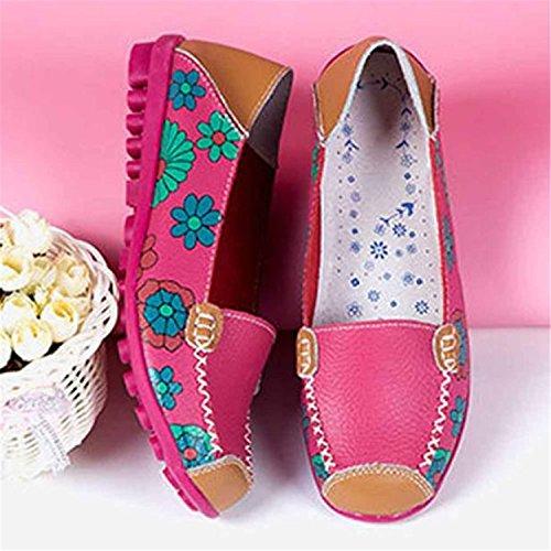 HCFKJ Nouvelles Femmes Chaussures En Cuir Mocassins Soft Loisirs Flats Chaussures Occasionnelles Femmes Rose chaud