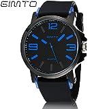 Gimto uomini sport orologi banda di silicone militare orologio da polso, Blue