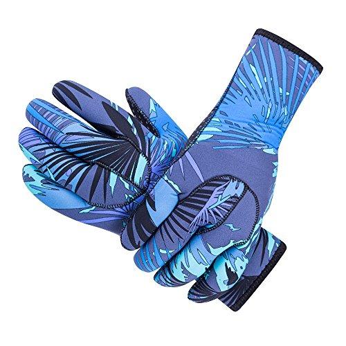 Tofern Handschuhe, Neckholder, 3 mm Dick, Rutschfest, Nylon, Wasserdicht, stoßfest, UV-beständig M Blau