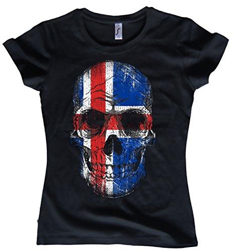NG articlezz Damen T-Shirt Island Skull Totenkopf Fussball WM Oldschool Verschieden Farben Größen S-XXL