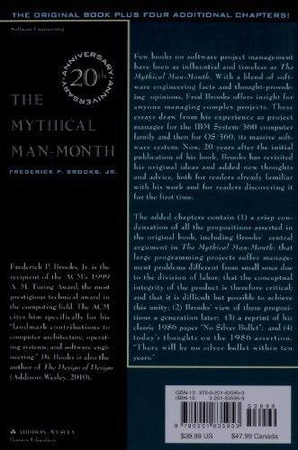 the mythical man-month essays on software engineering ebook Adding manpower to a late software project makes it later  11 the mythical  man-month: essays on software engineering (1975, 1995) 12 no silver bullet.