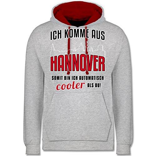 Städte - Ich komme aus Hannover - Kontrast Hoodie Grau Meliert/Rot