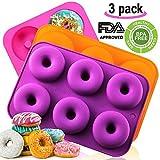 amison Silikon Donut Backform, antihaft-Donut Form, Geschirrspüler, Backofen, Mikrowelle, Gefrierschrank BPA frei Backen voller Größe Perfekt Geformte Donuts von (3Pack)