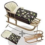BambiniWelt Kombi-Angebot Holz-Schlitten mit Rückenlehne & Zugseil + universaler Winterfußsack (90cm), geeignet für Babyschale, Kinderwagen, Buggy, Wolle, Eulendesign (Eule §14)