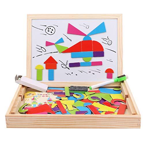 Rclhh Magnetische hölzerne Tangram Puzzles, Double Face Drawing Staffelei Board mit über 83 Stück Karten, Lernnummern Spielzeug für Kinder,Graphic
