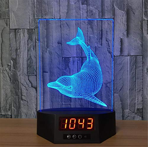 LNYF-OV LED 3D Nachtlampe 7 Farbe Touch Tischlampe Uhr, Schlafzimmer Kid Nachttisch Delphin Ewiger Kalender, USB-Aufladung