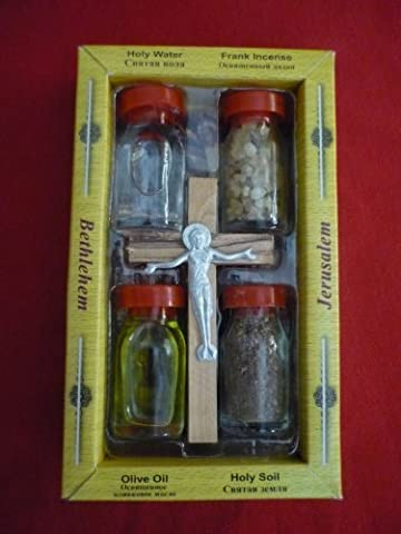 BLESSED HOLY WATER,SOIL,OIL,INSENCE WITH JESUS CROSS Crucifix HOLY LAND by Hand Made In Nazareth & Jerusalem HOLY LAND