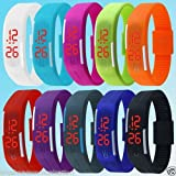 #9: SHOP ONLINE Thin LED Watch Unisex Digital Sports Watch For Men Women Kids(multi color)