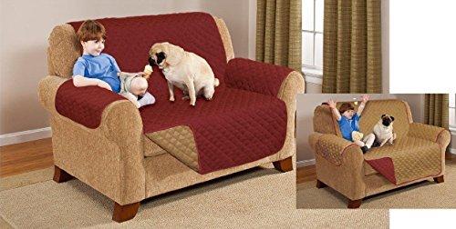 Zwei-Sitzer reversibel Sofa Möbel Slip Cover Überwurf Displayschutzfolie Burgund & Braun (Elle Slip)