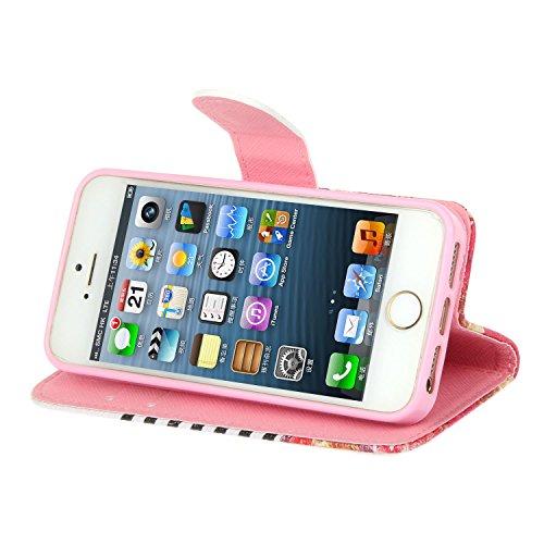 Schutzhülle für Apple iPhone 5s 5 SE case Wallet PU Leder Schale Tasche Magnet Hülle Handy Silikon Inner Cover Etui Skin Shell Purse Portemonnaie Geldbörse Mappen drei Karten Slot wave Blumen