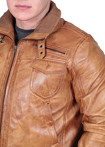 Herren Gepaßte Bomber Lederjacke Designer weiche hochwertige Mantel George hellbraun - 6