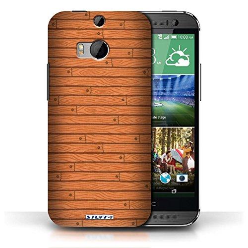 Kobalt® Imprimé Etui / Coque pour HTC One/1 M8 / Vert conception / Série Motif Bois Orange