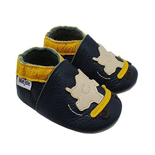 Mejale Weiche Sohle Leder Babyschuhe Lauflernschuhe Krabbelschuhe Kleinkind Kinderschuhe Hausschuhe Karikatur Nashorn Blau Grün