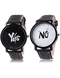 Shocknshop New Arrival Black YES/NO Stylish Leather Strap Couple Combo Watch For Men/Boys & Women/Girls (W92)...
