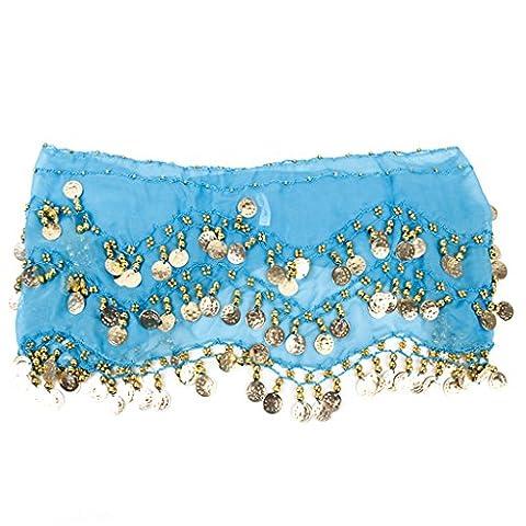Turkish Emporium 1PC Belly Dance Belt Hip Scarf Wrap Belt Skirt with 128 Gold Coins (Baby Blue)