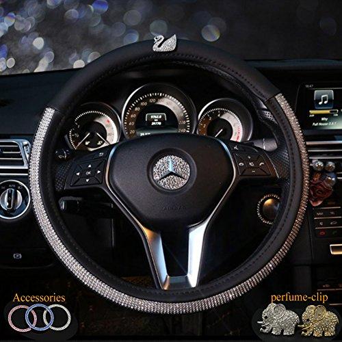 Alvaza Fashion Kristall Lenkradhülle Gute Qualität Bling Bling Strass Auto Diamant mit Echtem Leder Nicht Atmungsaktiv Lenkung Bezüge, Set 4