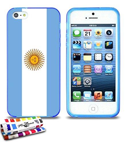 Ultraflache weiche Schutzhülle APPLE IPHONE 5S / IPHONE SE [Flagge Argentinien] [Grau] von MUZZANO + STIFT und MICROFASERTUCH MUZZANO® GRATIS - Das ULTIMATIVE, ELEGANTE UND LANGLEBIGE Schutz-Case für  Blau