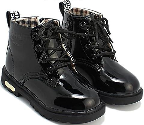 DADAWEN Mixte Enfant /Garçon /Fille /Bébé Waterproof Lace-Up Boots Noir 23