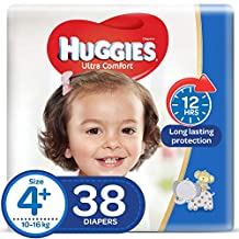 HUGGIES Ultra Comfort Diapers, Size 4+, Value Pack, 10-16 kg, 38 Diapers
