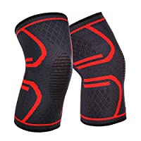 1 Pair Knee Brace Support Compression Sleeve Wraps Pads 1 Pair Knee Protector for Men & Women For Running Fitness Red