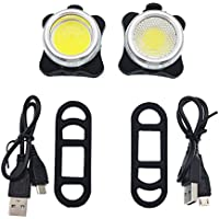 Aggiornato luce della bici del LED, iParaAiluRy luminoso ricaricabile USB 4 Modalità impermeabile Mountain Bike Road Bike fanale posteriore del faro Set, facile da installare con Holder Rubber Ring