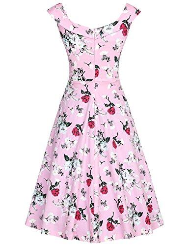 MUXXN Damen 1950er Boot-Ausschnitt Muster Hanhnentritt Party Swing Kleid Pink Rose