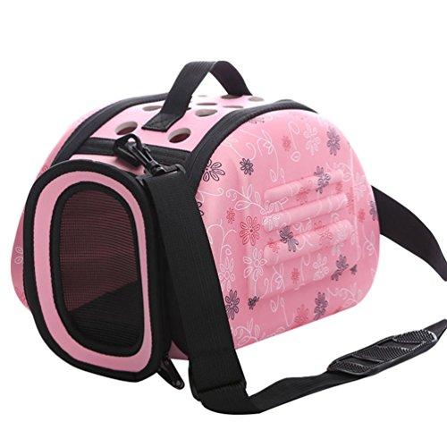 JEELINBORE Transporttasche für Tiere, Atmungsaktiv Faltbar Hundetasche Tragetasche Katzen Hunde Transportbox Tragekorb (Rosa, S)