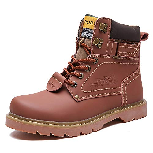 Men Boots Leather Shoes Martin Shoes High Help Booties Couple Retro Winter,Light Brown,40